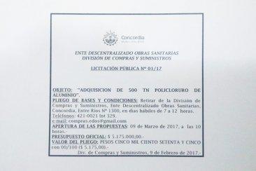 ENTE DESCENTRALIZADO DE OBRAS SANITARIAS DIVISIÓN COMPRAS Y SUMINISTROS